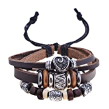Lureme Tibetan Vintage Charm Bead Braided Multi Strand Adjustable Leather Bracelet for Women and Men 06000582