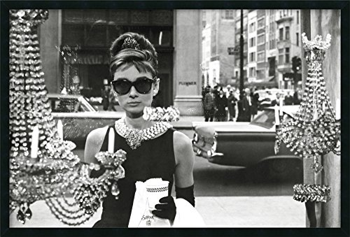 Framed Art Print 'Audrey Hepburn Breakfast at Tiffany's (Window)': Outer Size 37 x 25