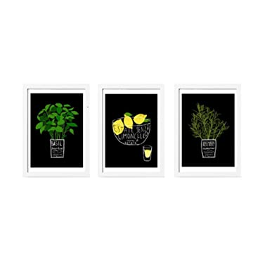 Ikea Trilling Poster Print Lemon and Herbs Set of 3