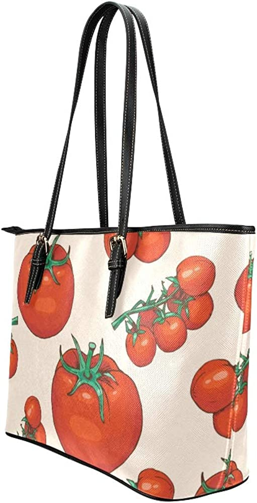 Mens Shoulder Bag Red Sour Sweet Vegetable Tomato Leather Hand Totes Bag Causal Handbags Zipped Shoulder Organizer For Lady Girls Womens Handbags Bag