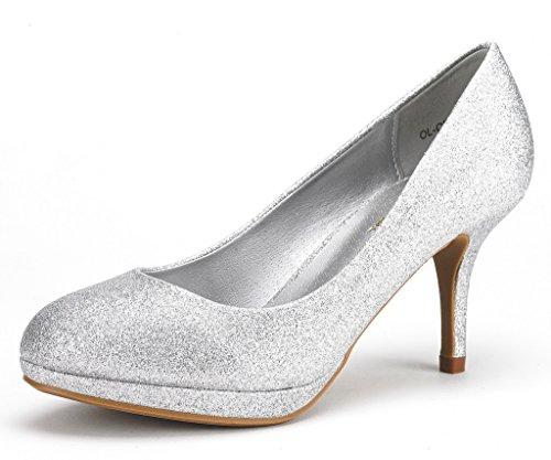 DREAM PAIRS Women's OL-CR Silver Glitter Low Heel Stiletto Pump Shoes - 11 M US