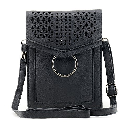 Bausweety Hollow Portable Small Crossbody Bag PU Leather Cell Phone wallet