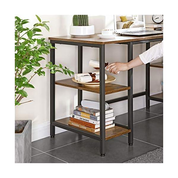 VASAGLE Bureau Informatique, Table d'ordinateur, Longueur 137 cm, avec 4 étagères, Grand Dessus, Stable, Montage Facile…