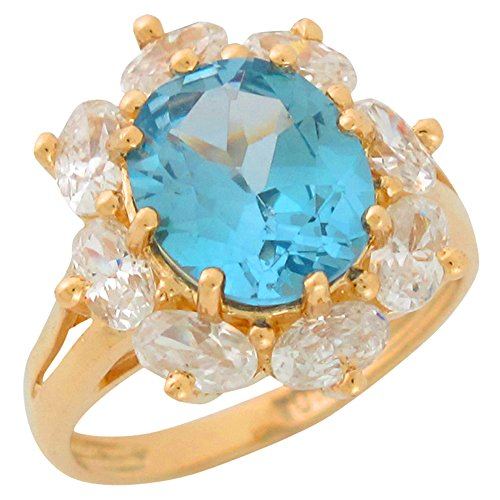 10k Yellow Gold Large Simulated Aqua White CZ Ladies Fine March Birthstone Ring (Large Aquamarine Ring)