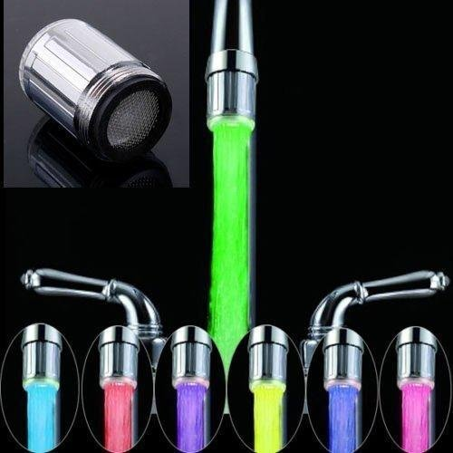 EIALA Temperature Controlled 3 Color Changing LED Light Water Faucet For Bathroom/Kitchen new