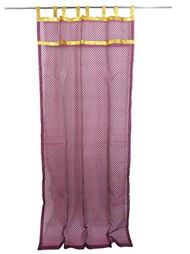 2 Indian Curtain Sheer Purple Organza Golden Sari Border Window Treatment (Length:108