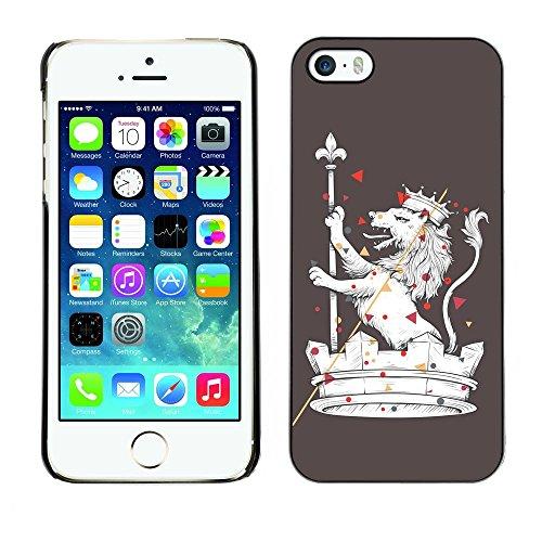 GIFT CHOICE / Mince Étui rigide Dur Housse de protection Slim Hard Protective Case SmartPhone Cover for iPhone 5 / 5S // Le Majestic Royal Lion //