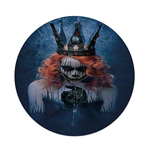 iPrint Cotton Linen Round Tablecloth,Queen,Queen of Death Scary Body Art Halloween Evil Face Bizarre Make Up Zombie,Navy Blue Orange Black,Dining Room Kitchen Table Cloth Cover ()
