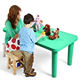 LAZYMOON Green Rectangular Kids Plastic Table Portable Activity School Home Furniture for Toddler Children