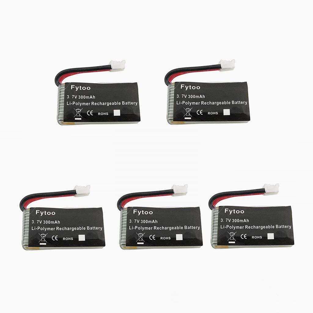 Fytoo 5PCS 3.7V 300mAh Lipo Batería para JJRC H36 E010 GoolRC T36 ...