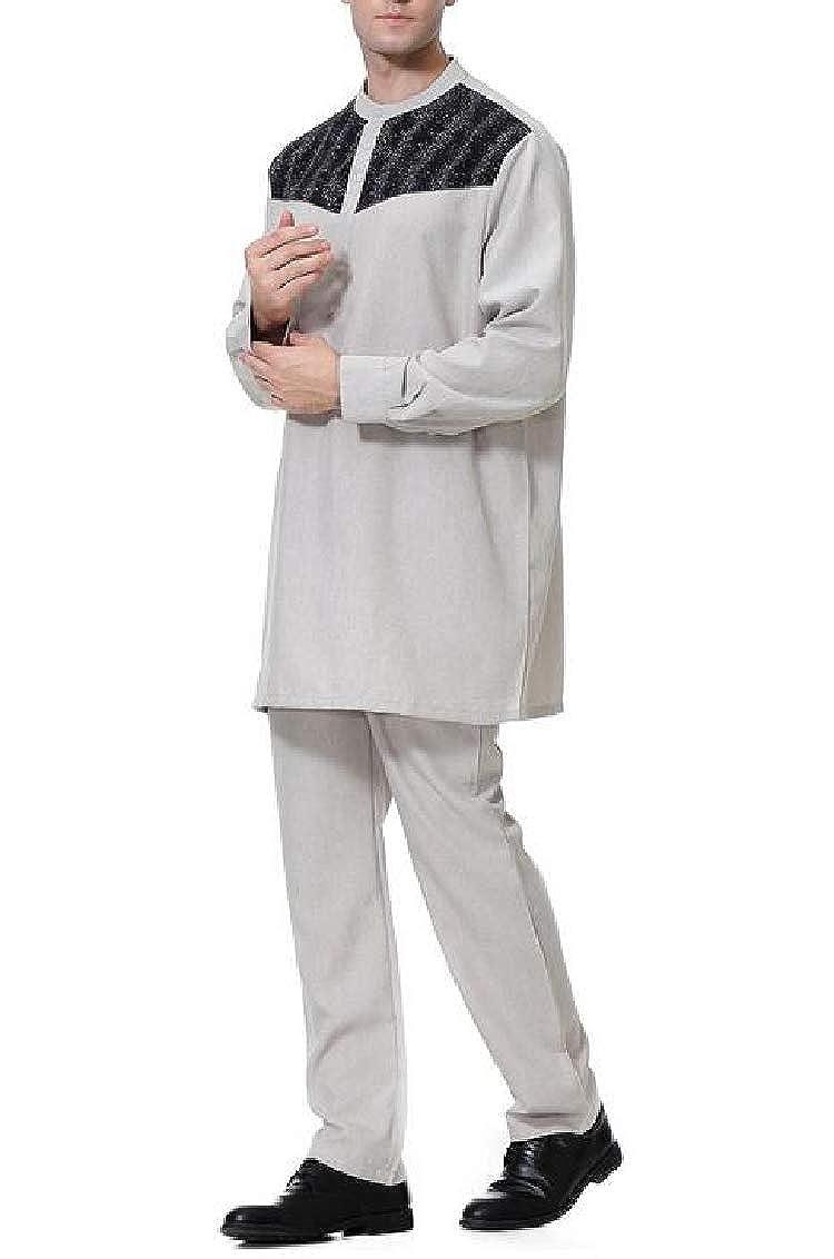 YULEgowinner Mens Classic 2PCS Arab Abaya Pants Tracksuit Set