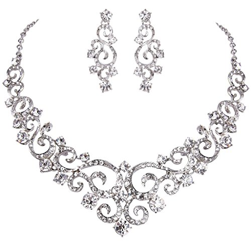 Dangle Floral Bridal Set (EVER FAITH Women's Crystal Gorgeous Floral Vine Bridal Necklace Earrings Set Clear Silver-Tone)