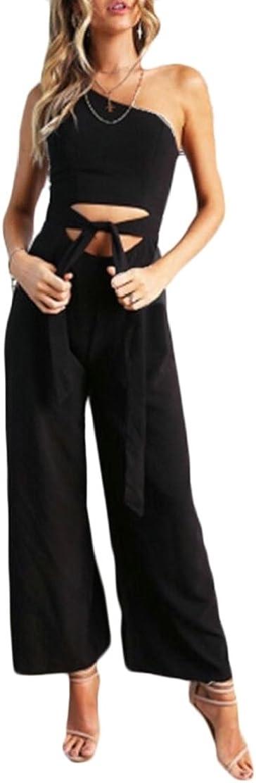 CYJ-shiba Women Summer Bandage One Shoulder Wide Leg Jumpsuits Rompers