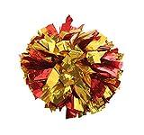 2 Of Metallic Foil & Plastic Ring Pom Poms Cheerleading Poms RED+GOLDEN