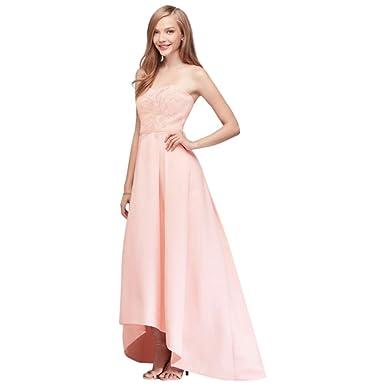 e9bf2d8833a David s Bridal Appliqued Faille High-Low Bridesmaid Dress Style OC290019