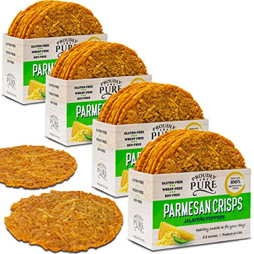 Gourmet Cheese Crisps - Proudly Pure Keto Friendly Parmesan Cheese Crisps Low Carb Snacks, Healthy Diet Food Crackers 100% Natural Aged Cheesy Parm Chips Crunchy Delicious Gluten/Wheat & Soy-Free (Jalapeno Pepper 10oz 4 Pk)