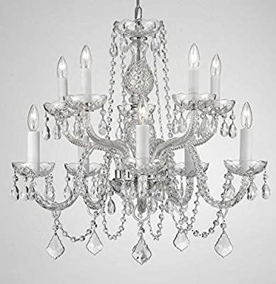 "Chandelier Lighting Empress Crystal (tm) Chandeliers H25"" X W24"" 10 LIGHTS! SWAG PLUG IN-CHANDELIER W/ 14' FEET OF HANGING CHAIN AND WIRE!"