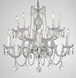 Swarovski Crystal Trimmed Chandelier! Chandelier Chandeliers Lighting Dressed with Swarovski Crystal! H 25″ W 24″ SWAG PLUG IN-CHANDELIER W/ 14′ FEET OF HANGING CHAIN AND WIRE! For Sale