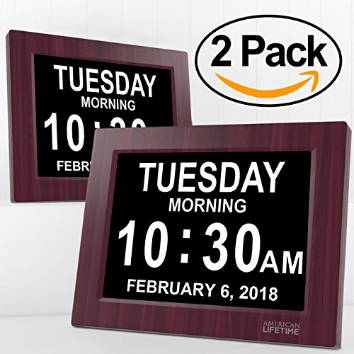 American Lifetime [Newest Version] Day Clock - Extra Large Impaired Vision Digital Clock with Battery Backup & 5 Alarm Options (Mahogany - 2 Pack)