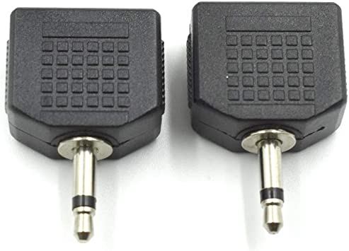 """25 Pack 3.5mm Dual Stereo Female to 1//4/"""" Mono Male Plug Audio Splitter Adapter"""