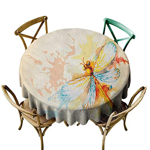 - Wendell Joshua Round Vinyl Tablecloth 60 inch Dragonfly,Watercolor Moth with Branch Print Wings on Abstract Backdrop, Pale Yellow Peach and Orange Suitable for Indoor Outdoor Round Tables