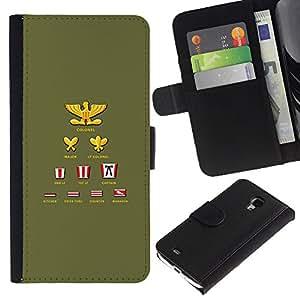 KLONGSHOP / Tirón de la caja Cartera de cuero con ranuras para tarjetas - Ranking Title List Simple Colonel - Samsung Galaxy S4 Mini i9190 MINI VERSION!
