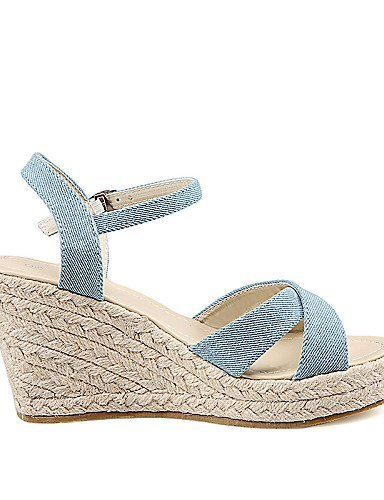 Wedges Blue Wedge Women's Casual Blue Heel ShangYi Sandals Shoes Leatherette SqwR41xHX
