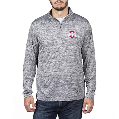 Top of the World NCAA Men's Ohio State Buckeyes Dark Heather Space Dyed Poly Quarter Zip Pullover Graphite X Large