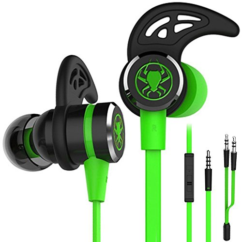 (Wired E-Sport Earphone Noise Cancelling Stereo Bass Gaming Headphone with Mic, KEKU 3.5mm HiFi Earbuds with Extension Cable and PC Adapter for PC, Laptop and Cellphones)