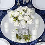 Tableclothsfactory 16'' Round Glass Mirror Wedding Party Table Decorations Centerpieces - 4 PCS