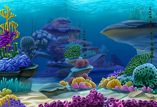 Leowefowa Vinyl 10x8ft Underwater World Aquarium Backgrouds Undersea Backdrops for Photography Colorful Coral Reef Summer Party Banner Children Baby Birthday Photobooth Props Fish Tank Backgroud