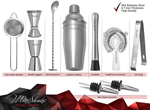 Cocktail Shaker – Cobbler Shaker – Bartender Kit – Bar Supplies – Drink Mixer – Martini Shaker Set-11 Piece Stainless Steel Cocktail Shaker Set With Strainer, Muddler, Two Jiggers, Bar Spoon,Ice Tongs