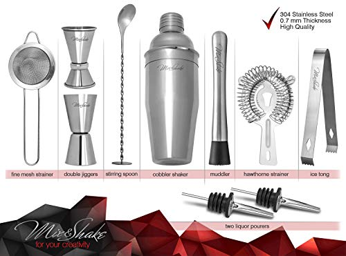 Cocktail Shaker - Cobbler Shaker - Bartender Kit - Bar Supplies - Drink Mixer - Martini Shaker Set-11 Piece Stainless Steel Cocktail Shaker Set With Strainer, Muddler, Two Jiggers, Bar Spoon,Ice Tongs by Mix&Shake (Image #1)