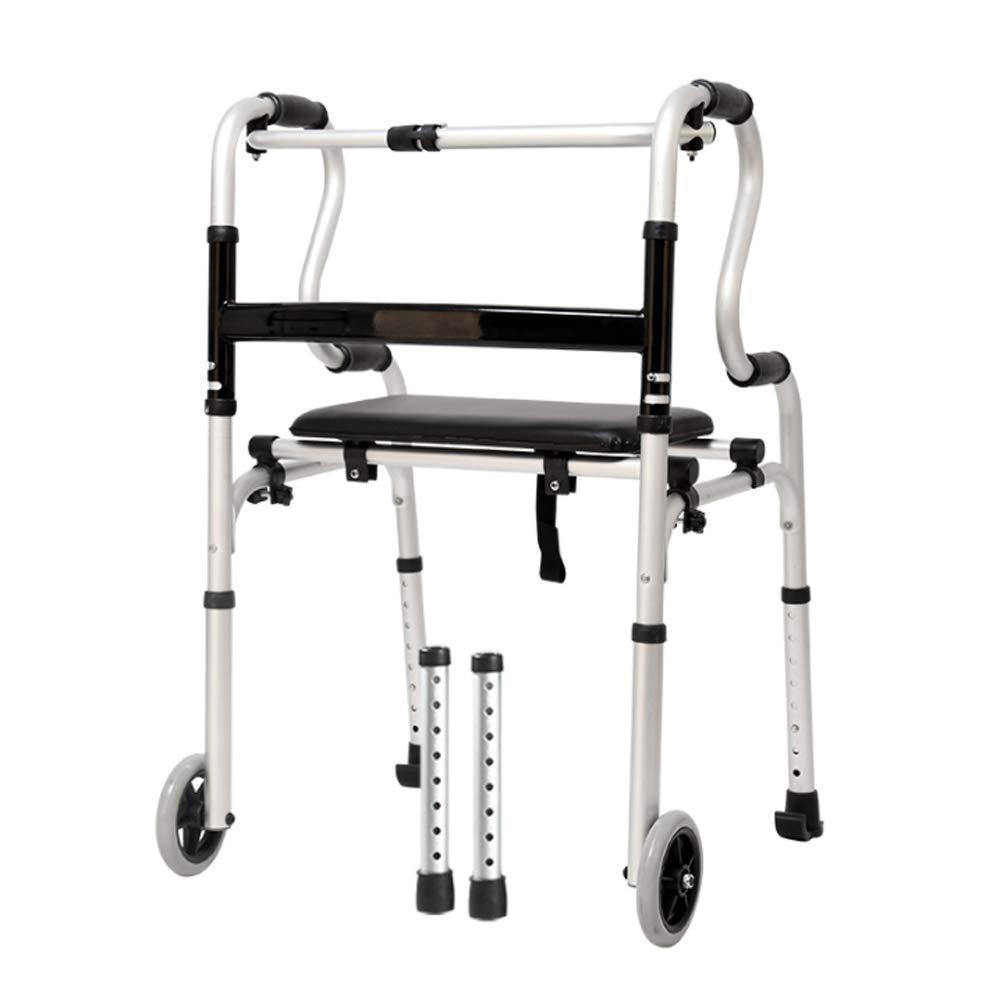 XXHDEE Four-Legged Walking Stick Folding Walker with PP seat with Wheeled Walker Folding Walker Walking aids by XXHDEE
