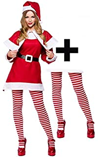 ae573d2dc09 Mrs Santa Claus + Tights Ladies Fancy Dress Christmas Festive Womens  Costume Plus Size UK 16
