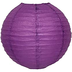 M.V. Trading LNT20ER-IV Colorful Chinese/Japanese Round Paper Lanterns with Metal Frame, 20-Inches, Violet