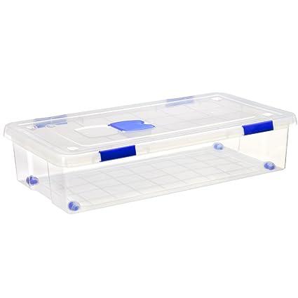 Gran Caja de clasificación de plástico con Ruedas (Mod. 16), Natural,