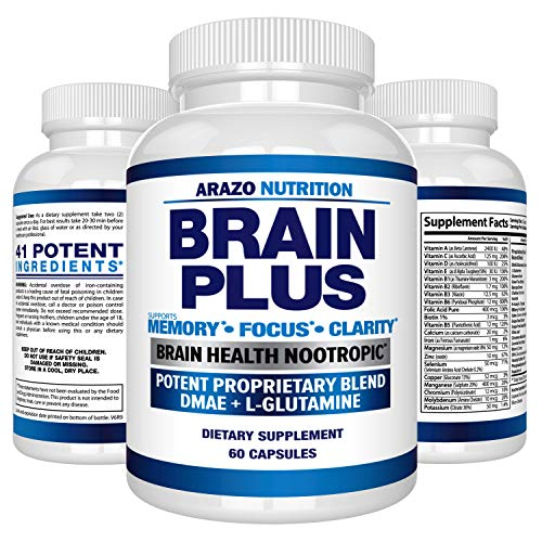 Premium Brain Function Supplement - Memory, Focus, Clarity - Nootropic Booster with DMAE, Bacopa Monnieri, L-Glutamine, Multi Vitamins, Multi Minerals - Arazo Nutrition (Best Supplements For Alzheimer's)