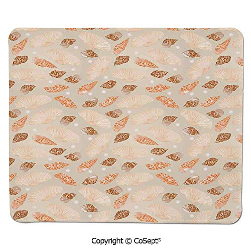 Mouse Pad,Pattern with Pearls Seashells an Oysters Natural Marine Life Style Decor Beach Theme,for Laptop,Computer & PC (11.81