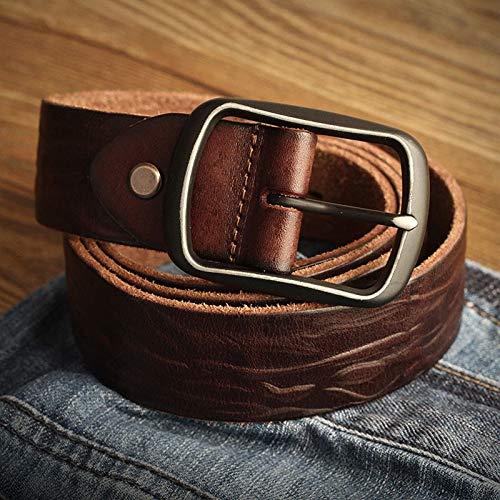 HeroStore Vintage Color line Leather Belt Mens Ancient Head Layer Cowhide Needle Buckle Belt do Old Character Carved Belt Jeans Belt