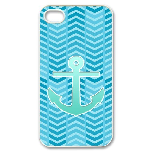 Cooliphone4Cases.com-2833-iPhone 4s Case, Hard Back Cover for iPhone 4s with Teal Blue Chevron Anchor Phone case Design-B01KX0KYPC-T Shirt Design