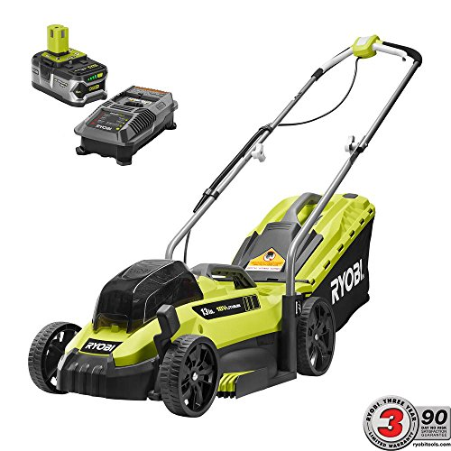 Ryobi 13 13 in. ONE 18-Volt Lithium-Ion Cordless Battery Walk Behind Push Lawn Mower – 4.0 Ah Battery and Charger Included