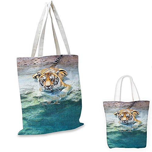 (Safari fashion shopping tote bag Picture of a Bengal Tiger Lying Near Water Wild Life Cave Stone Clear Water canvas bag shopping Teal Cream Mustard. 12