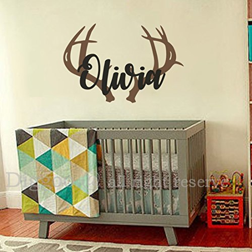 Personalized Deer Antlers Name Decal, Rustic Baby Boho Nursery Decor, Hunting Themed Nursery Wall Decor (14.5