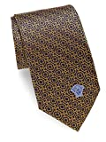 Versace Men's Medallion Print Italian Silk Tie, OS, Yellow