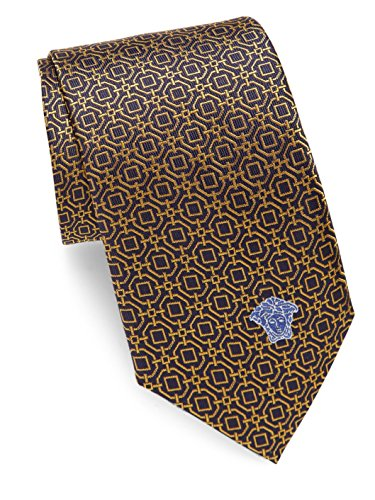 Versace Men's Medallion Print Italian Silk Tie, OS, Yellow by V1969 by VERSACE