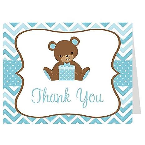 Amazon thank you cards baby shower teddy bear chevron thank you cards baby shower teddy bear chevron stripes baby boys m4hsunfo