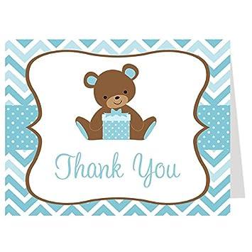 Tarjetas De Agradecimiento Baby Shower Oso Chevron Rayas Bebé