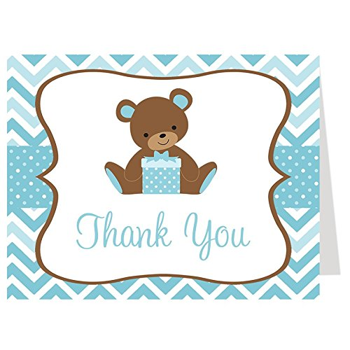 Teddy Bear Thank You Cards Chevron Stripes Baby Shower Folding Thank You Notes Polka Dots Sprinkle Aqua Blue Boys It's A Boy Thanks Birthday Party (50 count) ()