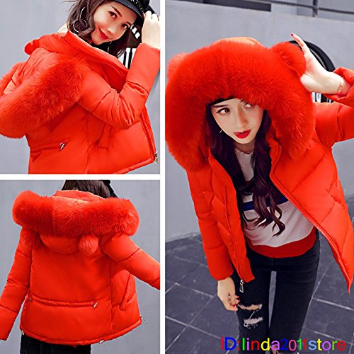 M Down Padded Yellow Womens Short Coat Winter Hooded Warm Orange Fur Collar Big XL Jacket tqt4U7